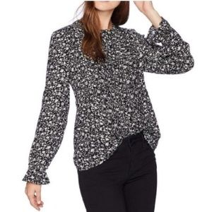 Lucky Brand M Black & White Floral Button Blouse